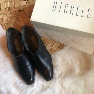 Vintage Nickels Snafu black leather ankle bootie